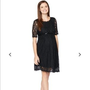 Lace Fit and Flare Maternity Dress